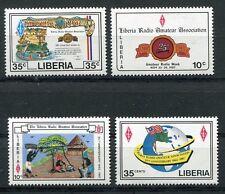 LIBERIA 1987 HAM RADIO - AMATEUR RADIO - FLAG - MAP MINT COMPLETE SET OF 4 !