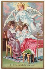 GORGEOUS  Postcard - Embossed Easter Angel Children Bed 1909 - George Holbrook