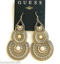 NEW GUESS GOLD TONE+CRYSTAL+PINK GEM CIRCLE CHANDELIER VINTAGE HOOK EARRINGS