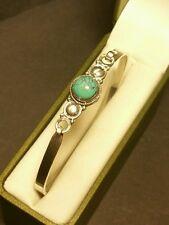 Fine Vintage Art-Deco Designer Sterling Silver 925 Celtic Turquoise Bangle 7inch