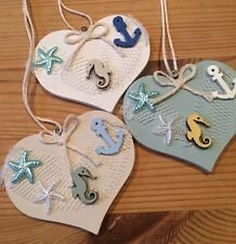 Nautical Hanging Decorations X 3 Shabby Chic Wood Heart Seahorse Anchor Starfish