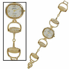 HORSE & WESTERN JEWELLERY JEWELRY  LADIES WOMENS SNAFFLE BIT WATCH - GOLD