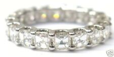 Fine Asscher Cut Diamond Eternity Ring 3.15Ct WG Sz7