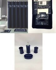 22Pc Bath Accessories ceramic Set Beverly Navy Blue bathroom rugs shower curtain