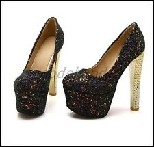 Ladies Sequins Round Toe Sequins Blingbling Pumps High Heels Clubwear Shoes Size