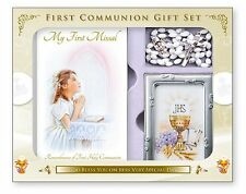 Girls First Holy Communion Catholic Gift Set Photo Frame Communion Rosary Beads