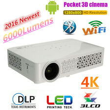 6000 Lumens Android DLP Home Theater Projector HD 1080P 4K 3D WIFI Cinema HDMI