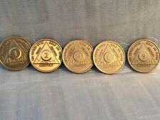 Lot of 5 Alcoholics Anonymous AA Bronze 1 2 3 6 9 Month Medallions Chips Coins