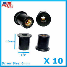 "10 M6 Rubber Well Nut Universal Windscreen & Fairing 6mm 1/2"" Wellnuts Wellnut"