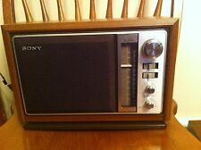 Vintage Sony ICF-9740W 2-Band AM/FM Table Radio in Simulated Wood Cabinet Music