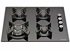 MILLAR GH6041XEB 4 Burner Built-in 60cm Black Gas on Glass Hob with Wok Burner