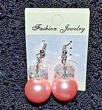 New crystal look and pink glass pearl drop earrings