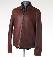 NWT $3695 LUCIANO BARBERA Reddish-Brown Leather Bomber Jacket 50/40 (M)