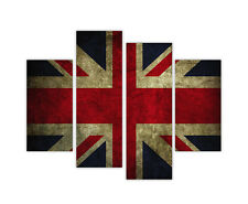 """WALL ART LARGE CANVAS PRINTS RETRO UNION JACK FLAG 4 PANEL 35""""(90cm) PICTURES"""