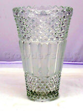 """Clear Glass Toothed Ridged Studded Pattern Bouquet Floor Vase - 10"""" inches Tall"""