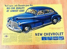 "ORIGINAL 1946 ""CHEVROLET FLEETMASTER"" CLASSIC SEDAN CAR TWO PAGE ART PRINT AD"