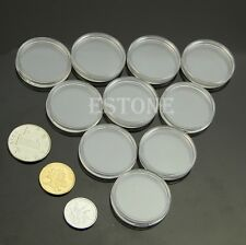 30mm 10pcs Applied Clear Round Cases Coin Storage Capsules Holder Round Plastic