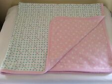 Gymboree Pink White Baby Blanket Green Checked Pattern