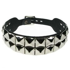 DOG COLLAR NECK BAND 2 ROW PYRAMID STUDS LEATHER goth choker punk fetish emo oi