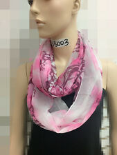 All Season Light Chiffon Jersey Infinity Circle Eternity Scarf Tree Branch Pink