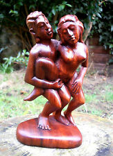 Carved Wooden Nude Erotic Abstract Statue Kamasutra 21 cm Handmade Indonesia