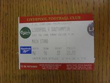 16/01/1999 Biglietto: Liverpool V Southampton [Stile Lucido, Rosso] (piegato). questo è