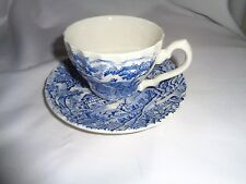 "Made In England Transferware Myott ""The Hunter"" Blue Cup And Saucer"