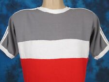 vintage 80s ADIDAS JERSEY RINGER COLOR BLOCK T-Shirt MEDIUM mesh soccer thin