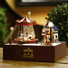 DIY Dollhouse miniature Kit the Carousel happy garden music box Christmas gift