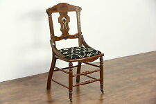Victorian Eastlake 1885 Antique Walnut Side or Desk Chair, New Upholstery