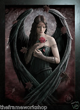 ANNE STOKES BLACK FRAMED ANGEL ROSE - 3D MOVING PICTURE 300mm x 400mm