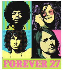 "2.5"" FOREVER 27 Sticker / Decal Kurt, Jim, Janis, Jimi. Good for bong or pipe."