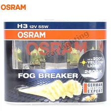 OSRAM H3 PK22s 12V 55W 2600K Fog Breaker Yellow Light Car Halogen Bulbs 62151FBR