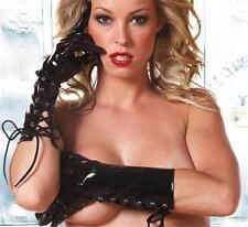 Vinyl Lace Up Gloves Elbow Mid Length Costume Black G-2007