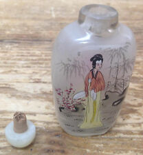 Snuff Bottle Larger Geisha Lady Orange Yellow Pink No Spoon Vintage Asian Vintag