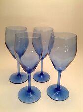Lot Of 4 Wine Glasses 6 OZ Blue (nice)
