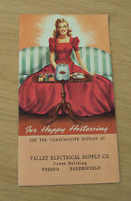 1941 ADVERTISING Brochure~'For Happy Hostessing'~TOASTMASTER/Pricing~Fresno CA~