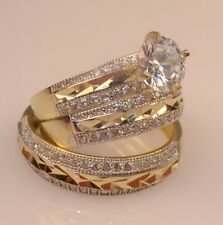 Men Ladies Yellow Gold Trio Set Wedding And Engagement Rings Briadal set