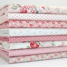 8 x FQ BUNDLE - VERITY 2 PINK & IVORY FLORAL - 100% COTTON FABRIC dots roses