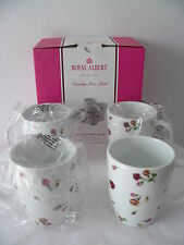 NEW ROYAL ALBERT COUNTRY ROSE BUDS FLORAL SET OF 4 MUGS NIB