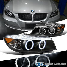 2006-2008 BMW E90 3-Series 325i 330i 4Dr Black Dual Halo Projector LED Headlight