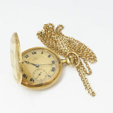 NYJEWEL OMEGA Ω 18k Gold Vintage Floral Engarved Pocket Watch Running w Chain