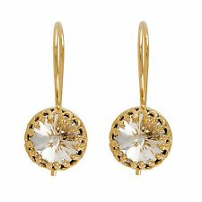14K Yellow Gold Filled SWAROVSKI CRYSTAL Gold earrings Dangle Earrings WEDDING