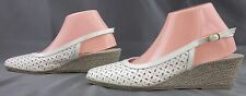 NEW! Sesto Meucci Laser Cut Closed Toe Slingback Wedge White Patent Sz 9.5W
