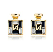 Boucles d'Oreilles Flacon Parfum n°5 Swarovski Elements Cristal Or Gold Earrings