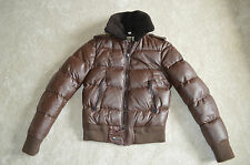 Burberry Prorsum Brown Leather Zip Bomber Jacket Coat Mens ITA 48 Small S UK 38