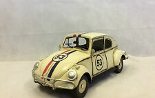 "Large VW Beetle Herbie ""53"" Tin Handmade Model Hand Painted Rally Car Ornament"