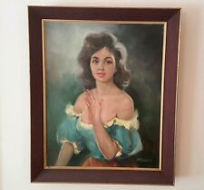 Lajos Fuzesi Vintage Gypsy Girl Oil Painting Original Framed Hungarian 19x23