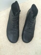 JOSE SAENZ Boot Black Ankle Zipper Leather Lace SPAIN Size 40 9 Soft Lightweight