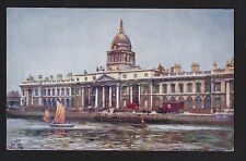 c1910 Tuck Customs House Dublin Ireland  boats postcard